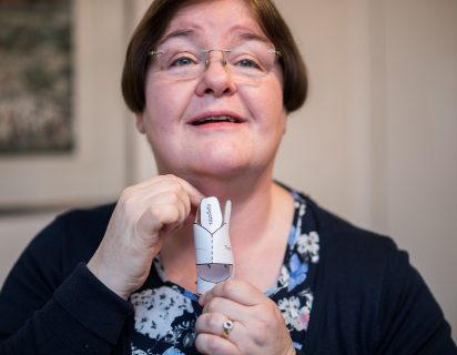 vocal training anne with paper larynx